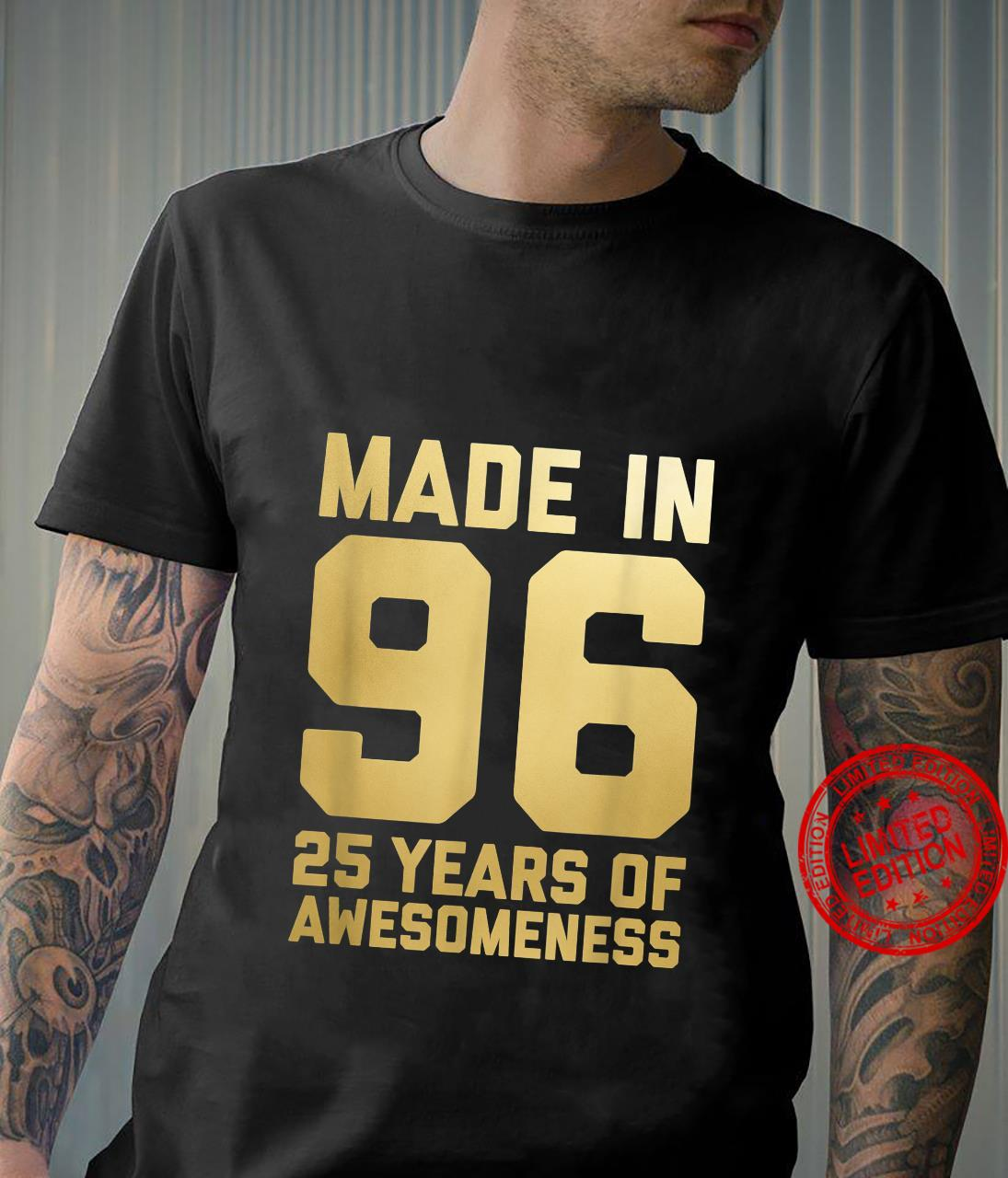 25th Birthday 25 Year Old Daughter Son 1996 Shirt