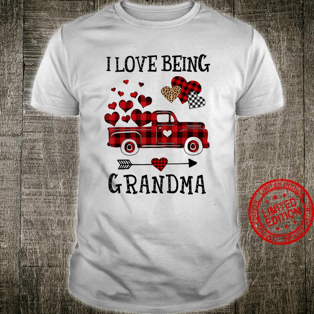 I Love Being Grandma Red Plaid Truck Hearts Mother Day Shirt