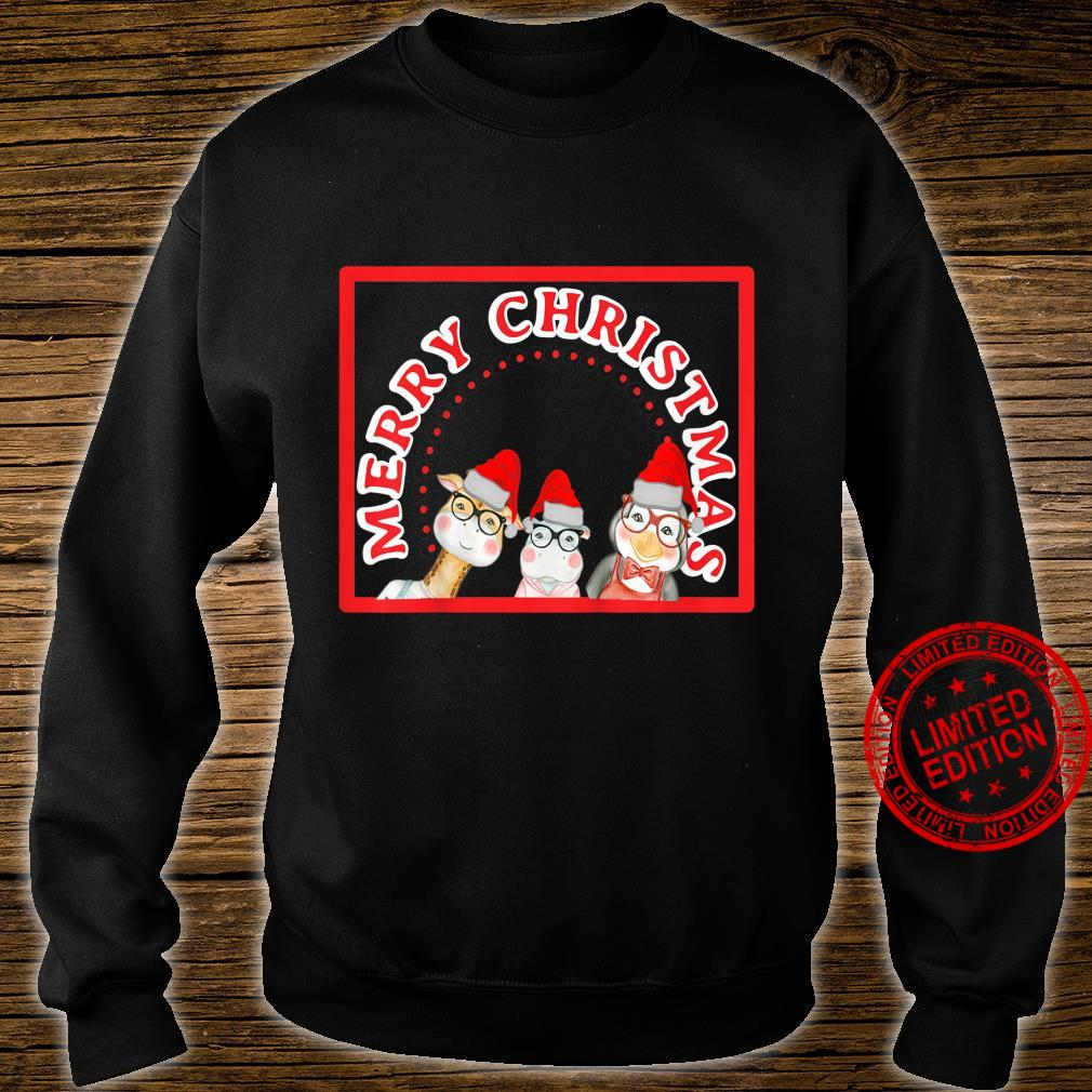 Kids Cute Animals With Glasses And Santa Hats Christmas Shirt sweater